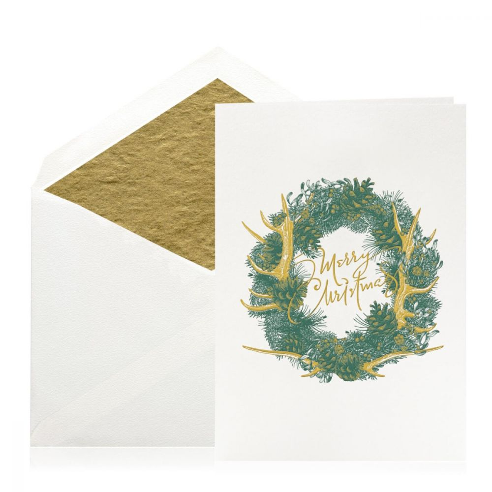 Boxed Antler Wreath Folded Cards