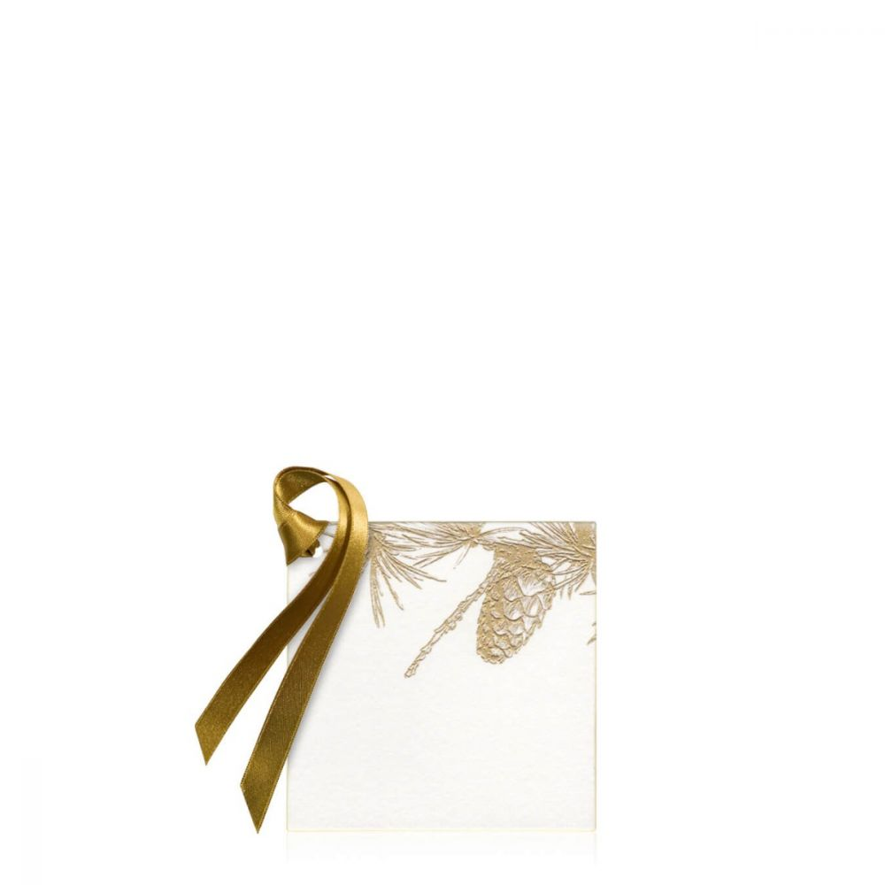 Gold Pine Branch Gift Tag
